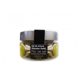 Escamas de Flor de Sal con aceituna verde 70 gr