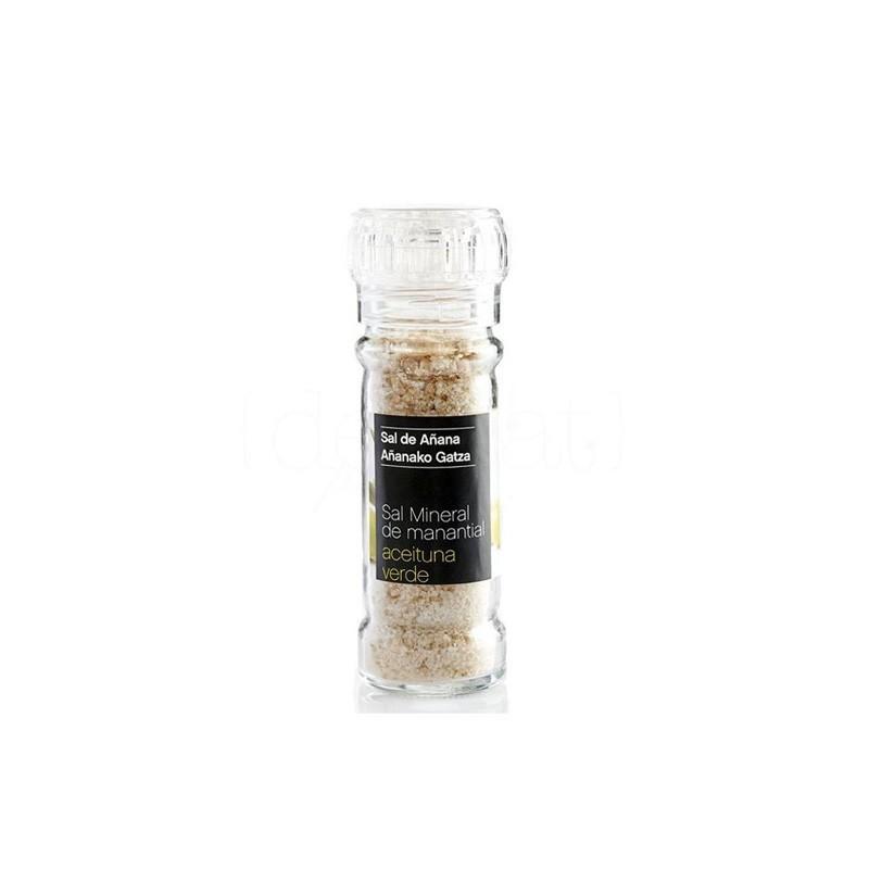 Mineral Spring Salt with green olives grinder jar 75 gr